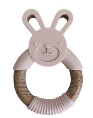Chewable Charm  Bunny Silicone + Wood Teether