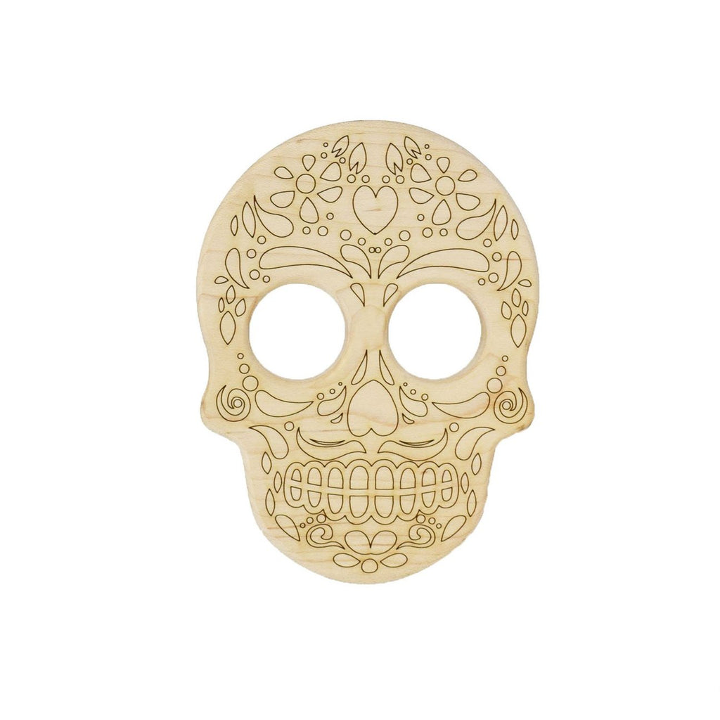 Little Saplings Sugar Skull Calavera Wood Toy Teether