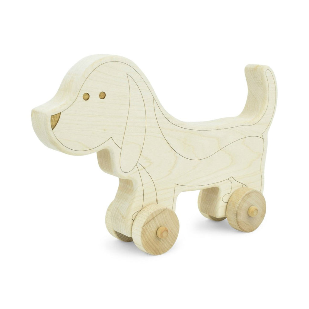 Little Saplings Wooden Dog Push Toy