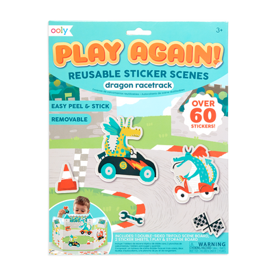 Ooly Play Again Reusable Sticker Scenes Dragon Racetrack