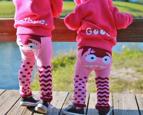 Doodle Pants - Organic Pink Monster