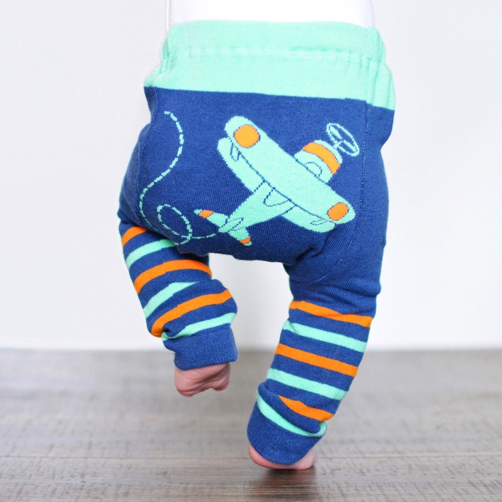 Doodle Pants - Green Airplane Stripes