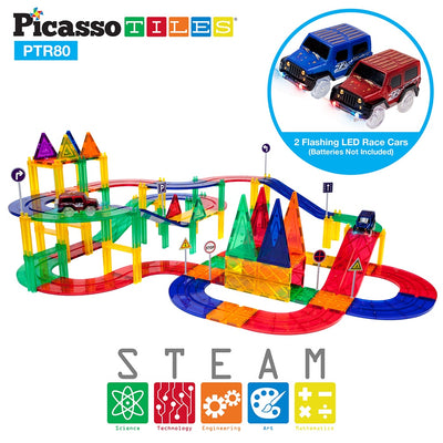 Picasso Tiles 80 Piece Race Track Building Blocks