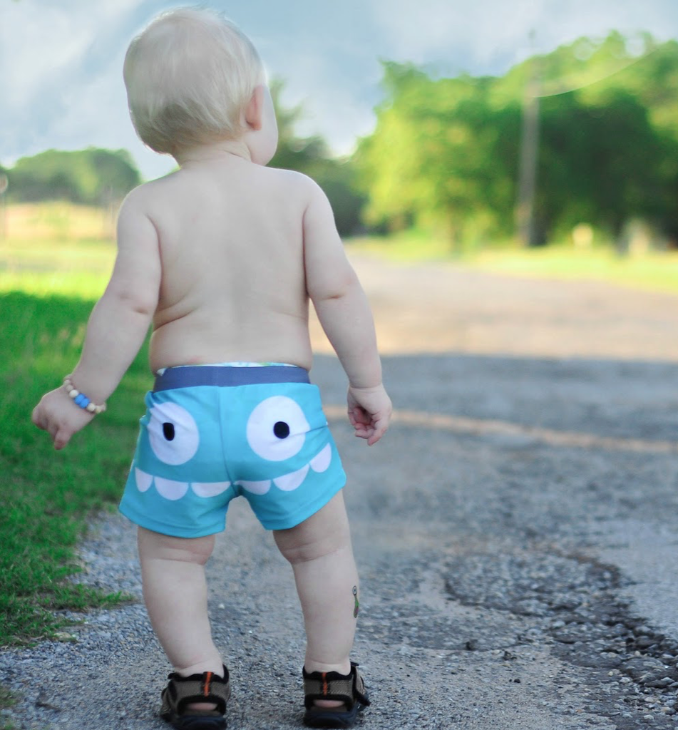 Doodle Pants Blue Monster Swim Shorts