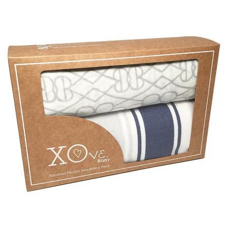 XOve Baby 2 Pack Swaddle Gray/Blue