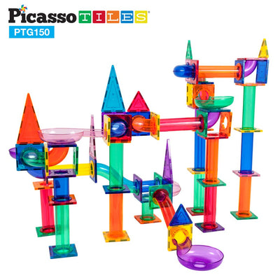 Picasso Tiles 150 Piece Magnetic Marble Run Building Block Set