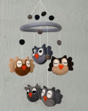 The Winding Road Wool Owl Mobile