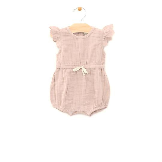 City Mouse - Soft Rose Muslin Tie Romper