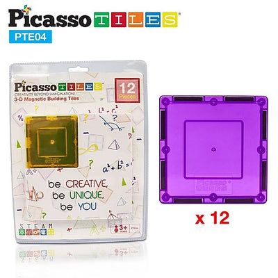 Picasso Tiles Magnetic Tiles 12 Piece Square Expansion Pack