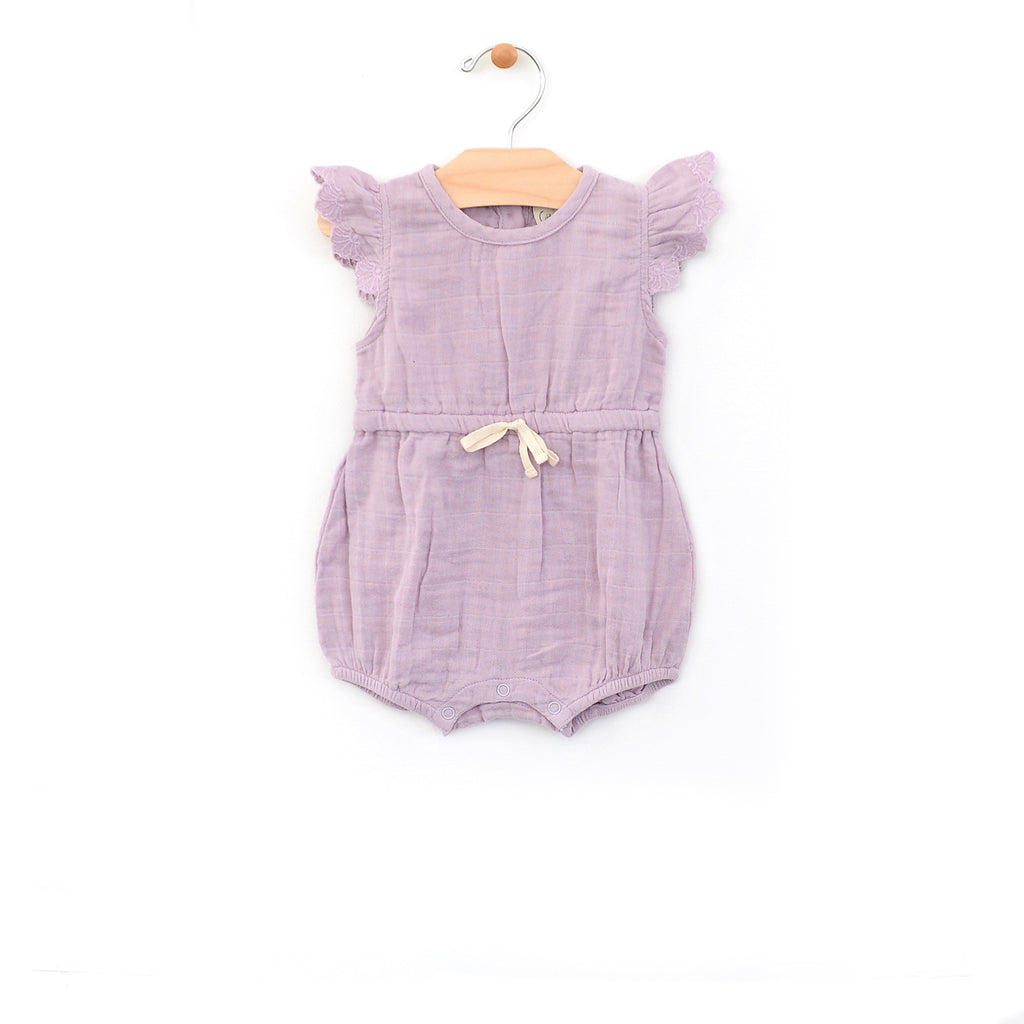 City Mouse - Lilac Muslin Tie Romper