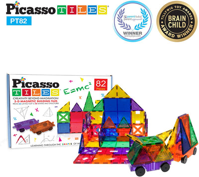 Picasso Tiles 82 Piece Building Set with Cars