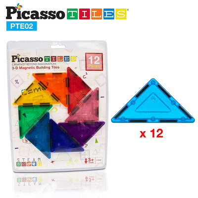 Picasso Tiles Magnetic Tiles 12 Piece Right Triangle Expansion Pack