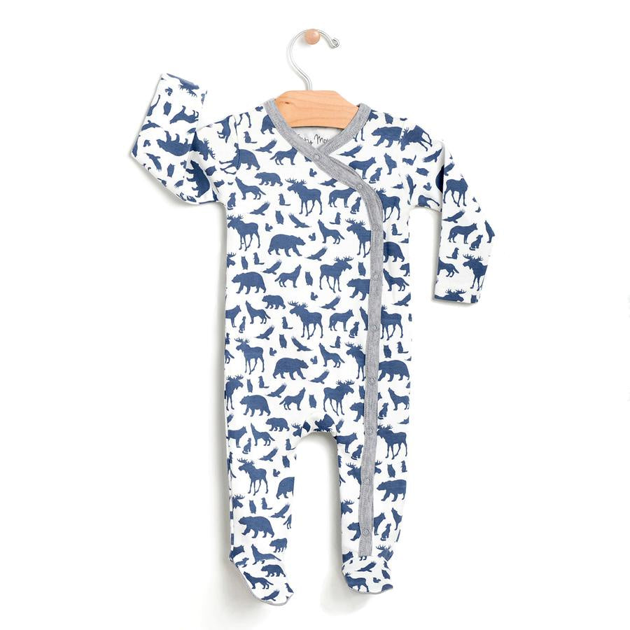 City Mouse - PNW Animals Footed Romper - Denim Blue