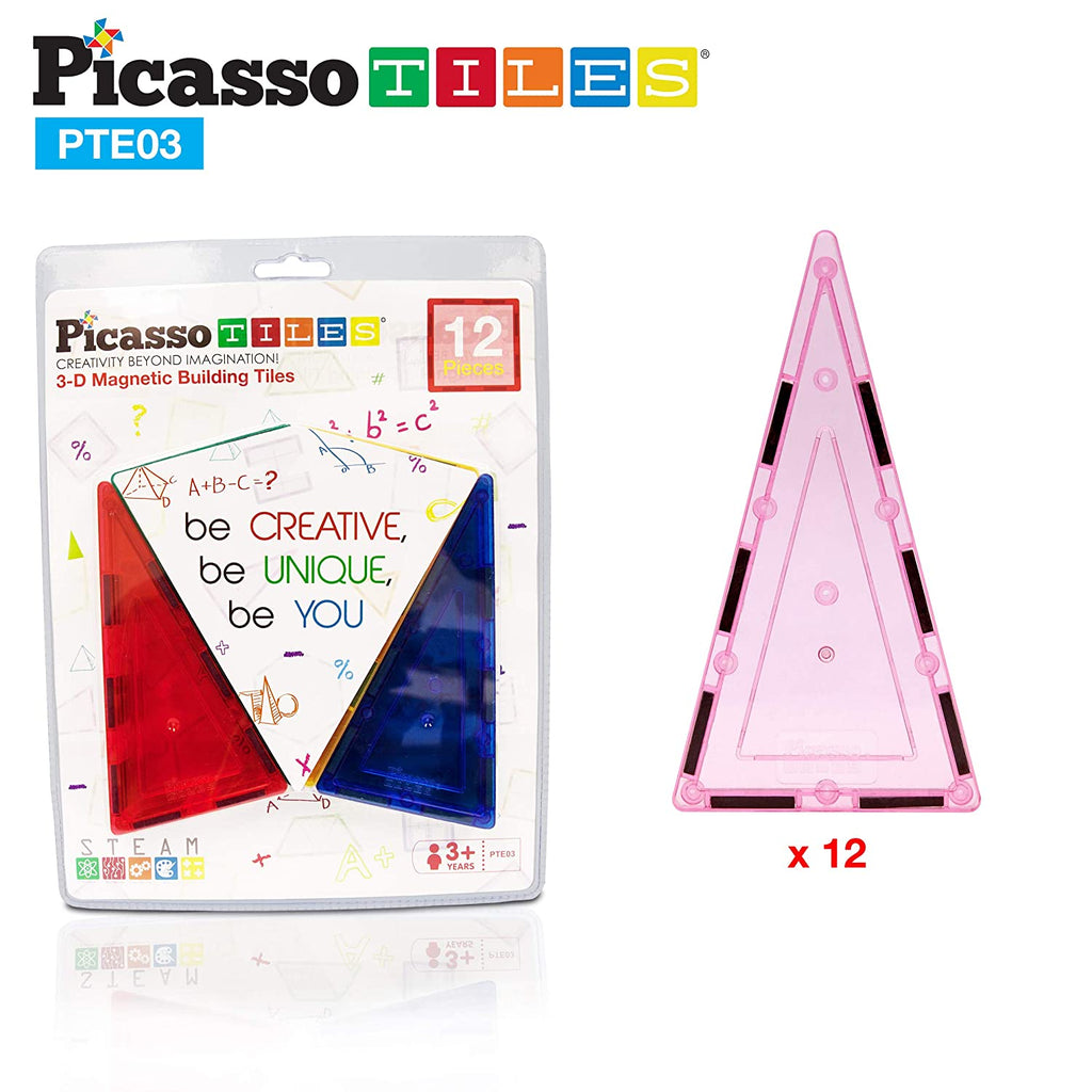 Picasso Tiles Magnetic Tiles 12 Piece Tall Triangle Expansion Pack