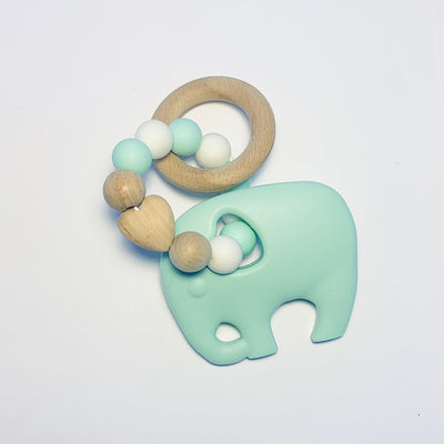 Sugar + Maple Silicone + Beechwood Elephant Teether