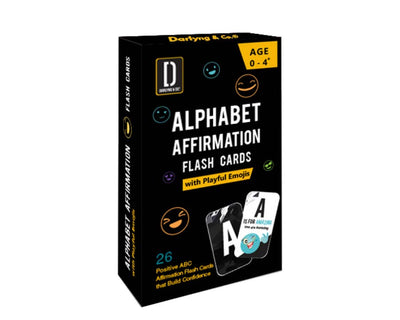 Darlyng & Co. Modern Alphabet Affirmation Flash Cards with Playful Emojis
