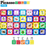 Picasso Tiles 56 Piece Magnetic Building Tiles - Fundamentals and Cognition Set