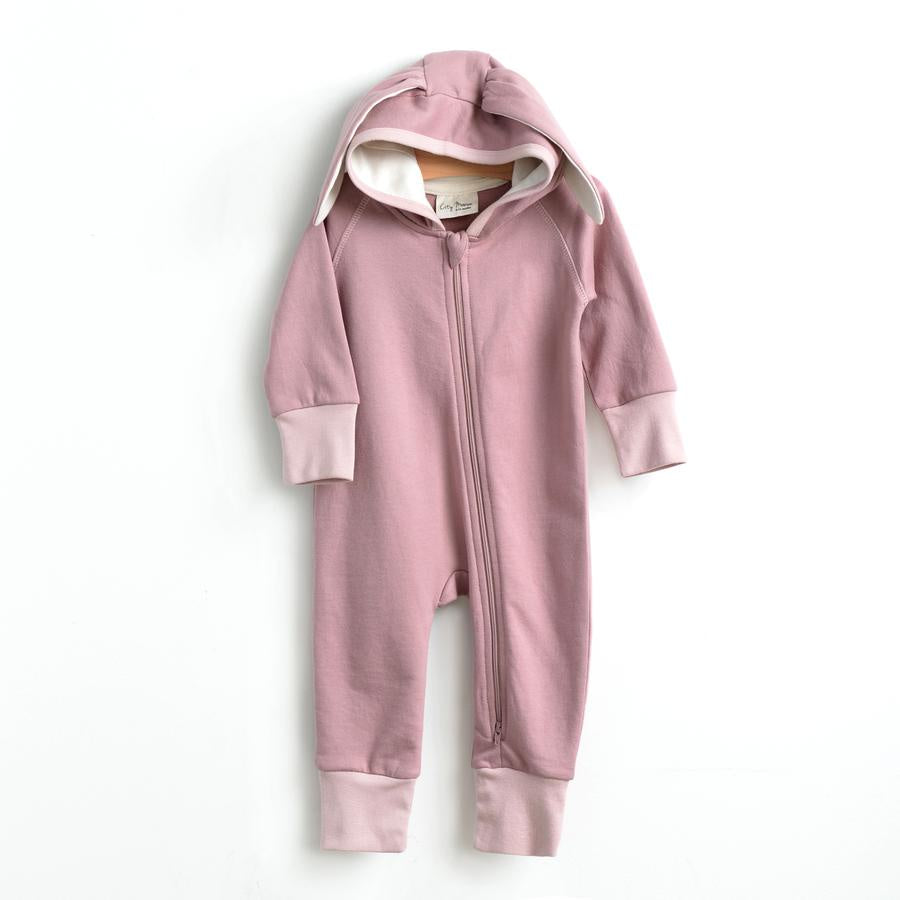 City Mouse - Bunny Hooded Romper - Dusty Rose