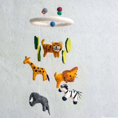 The Winding Road Wool Jungle Animal Mobile