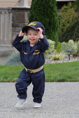 Mini Poopy Suit Navy Blue Coveralls