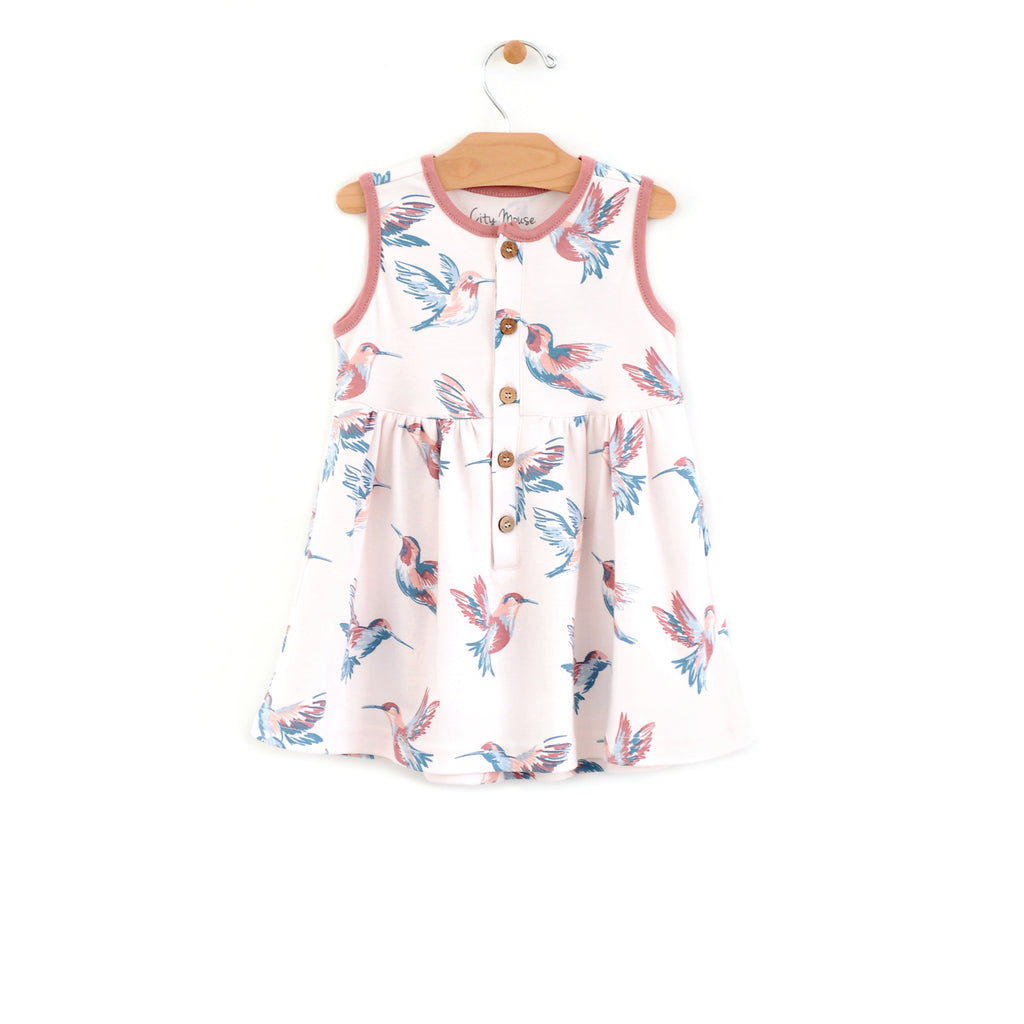 City Mouse - Hummingbirds Button Dress