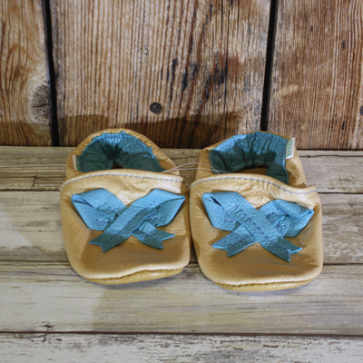 Soft Sole Shoes – Tan & Turquoise Bow – Summer Blowout FINAL SALE