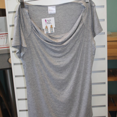 Udderly Hot Mama – Chic Cowl Nursing Top Heather Gray – Summer Blowout FINAL SALE