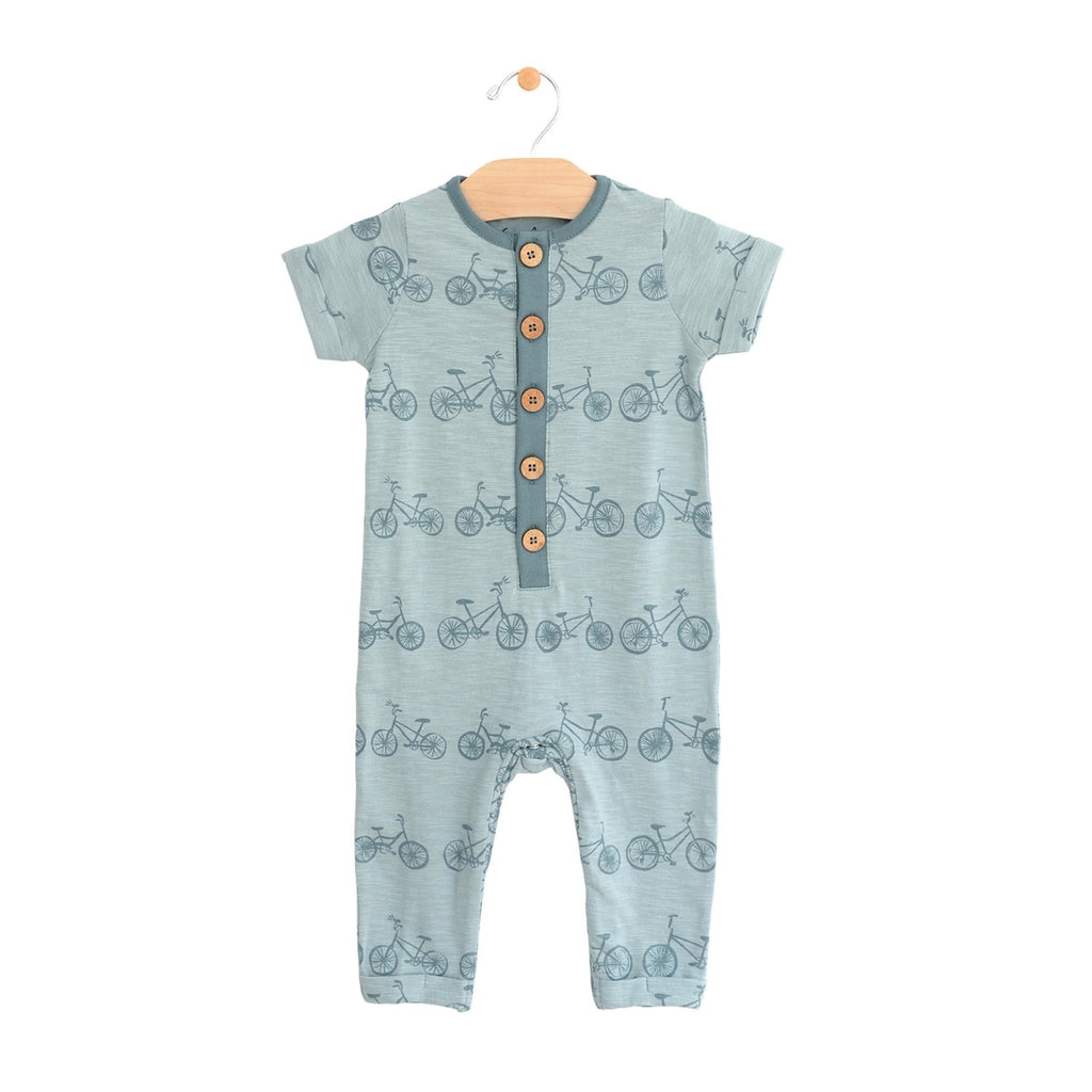 City Mouse - Bikes Long Button Romper