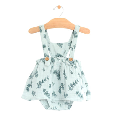 City Mouse - Eucalyptus Muslin Button Pinafore