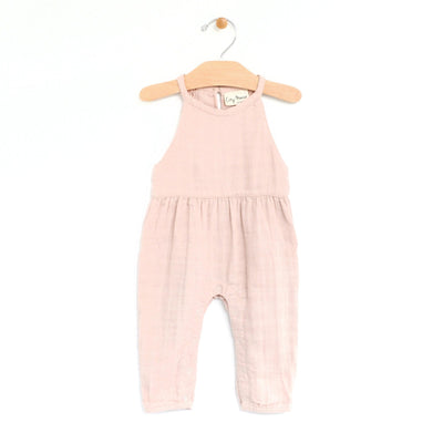 City Mouse - Peach Blossom Muslin Lace Back Romper