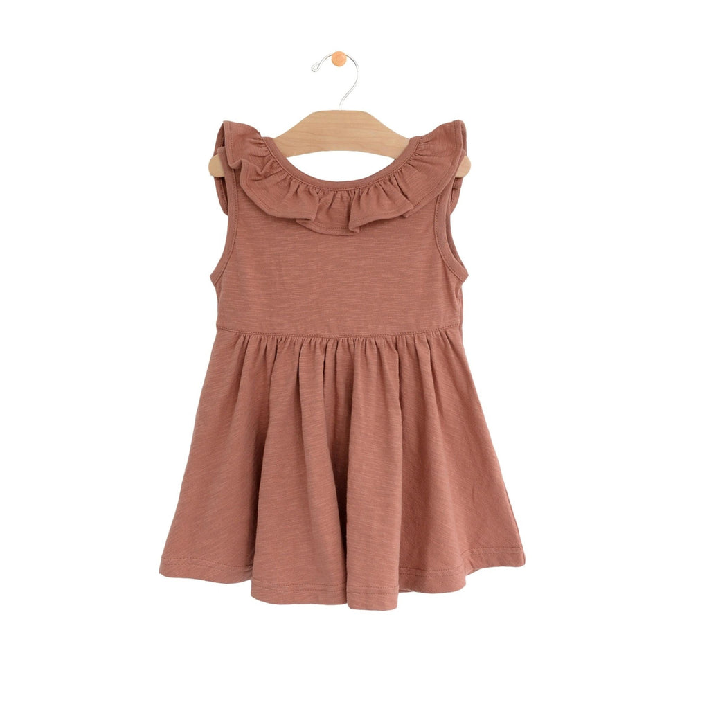 City Mouse - Clay Flutter V Back Dress