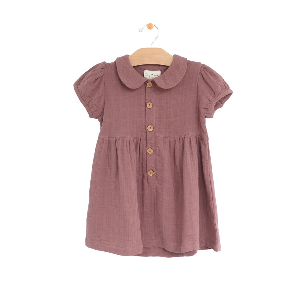 City Mouse - Sangria Mauve Muslin Button Dress