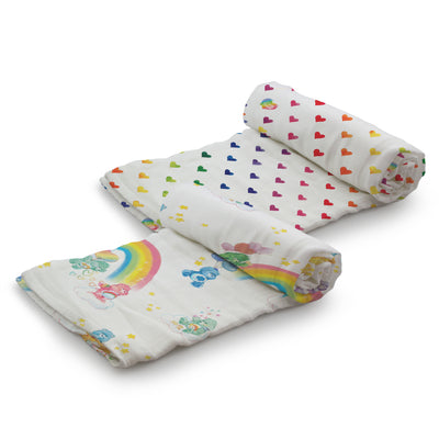 Kanga Care Serene Swaddles - Care Bear Birthday Party Watercolor Rainbow (2 pack)