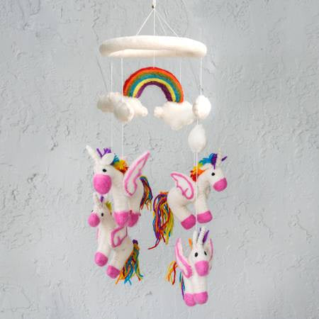 The Winding Road Wool Rainbow Unicorn Mobile