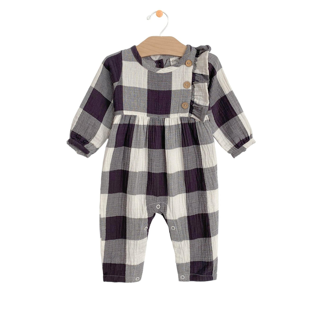 City Mouse - Buffalo Check Crinkle Side Button Romper