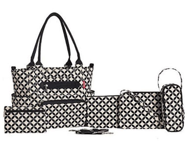 Grand Central Tote Diaper Bag - 7 Piece Set in Geometric Print