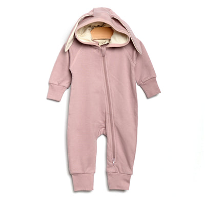 City Mouse - Bunny Hooded Romper - Mauve