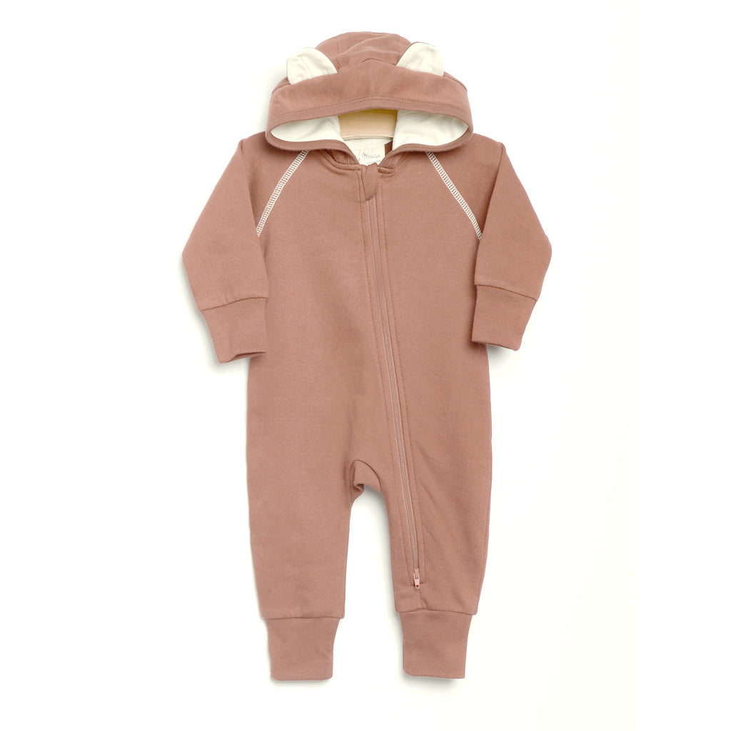 City Mouse - Bear Hooded Romper - Caramel