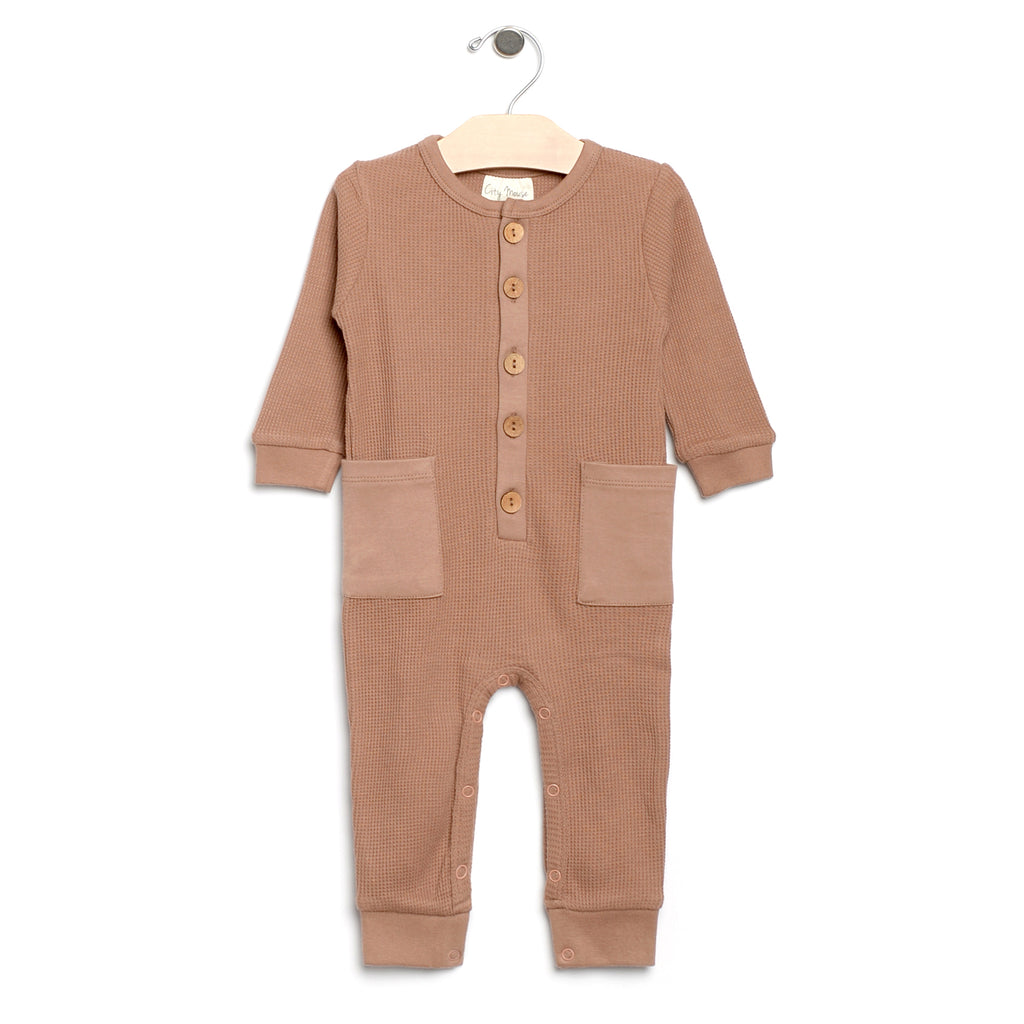 City Mouse - Caramel Waffle Button Romper