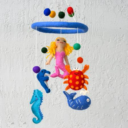 The Winding Road Wool Mermaid and Sea Creature Mobile