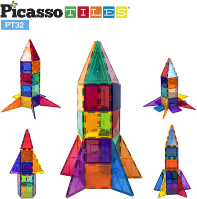 PicassoTiles 3D Magnetic Building Block Tiles 32 Piece Rocket Set