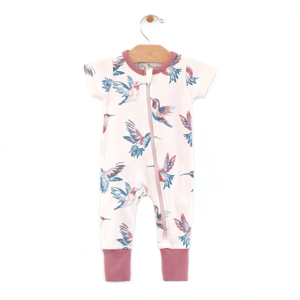 City Mouse - 2-Way Zip Hummingbirds Romper