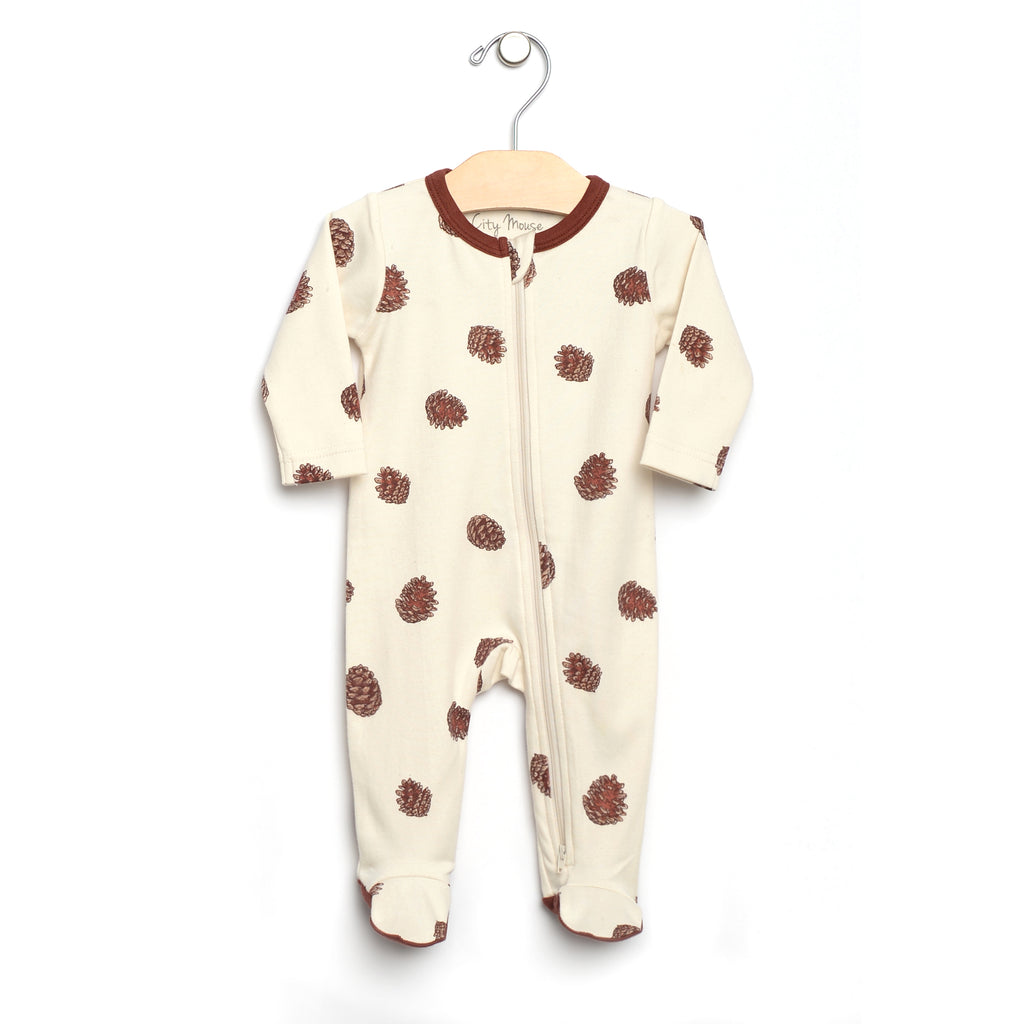 City Mouse - 2-Way Zip Pine Cone Footed Romper