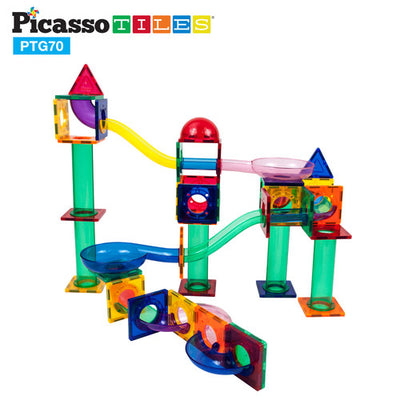 Picasso Tiles 3D Magnetic Building Block Tiles - 70 Piece Marble Run (Marbles included)