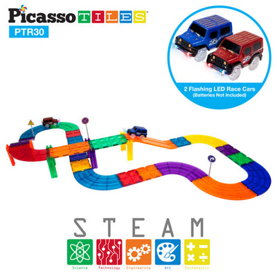 PicassoTiles 3D Magnetic Building Block Tiles 30 Piece Racetrack Set