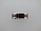 8mm Silver Brushed* Tungsten Carbide Unisex Band with Koa Wood Inlay