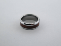 8mm POLISHED Silver* Tungsten Carbide Unisex Band with Koa Wood Inlay