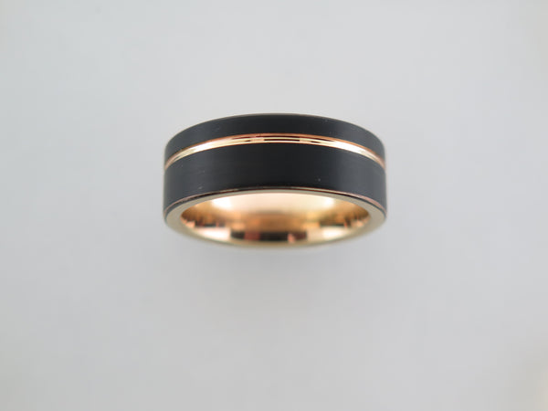 8mm Black Brushed Tungsten Carbide Unisex Band With Yellow Gold* Stripe & Interior