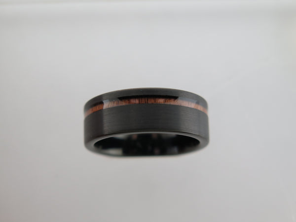 8mm Black Brushed Tungsten Carbide Unisex Band with Koa Wood Stripe Inlay