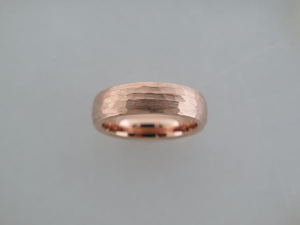 6mm Hammered Brushed Rose Gold* Tungsten Carbide Unisex Band